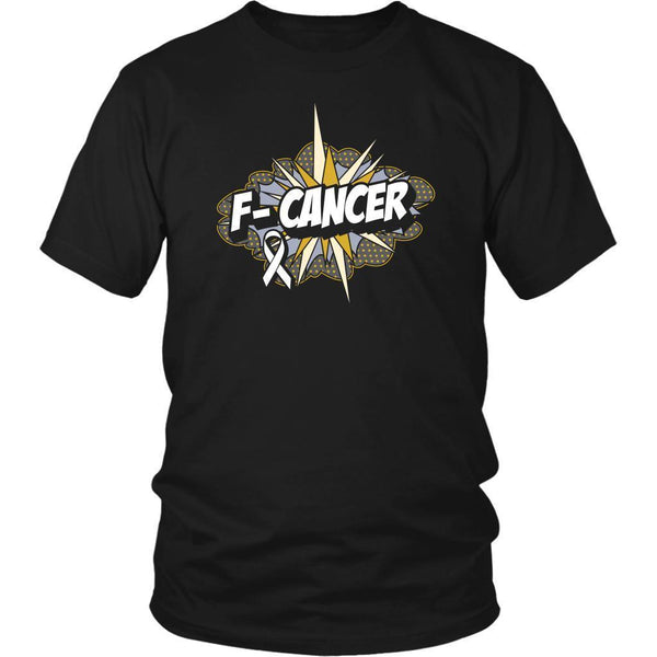 F-Cancer Lung Cancer Awareness White Ribbon Cool Gift Ideas TShirt-T-shirt-District Unisex Shirt-Black-JoyHip.Com