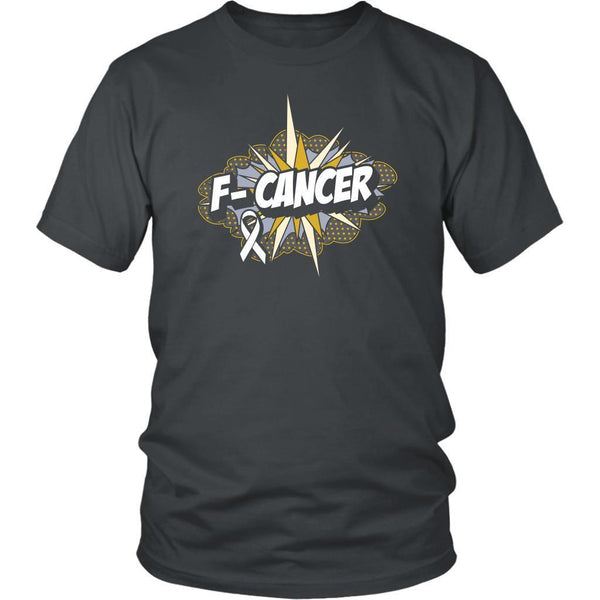 F-Cancer Lung Cancer Awareness White Ribbon Cool Gift Ideas TShirt-T-shirt-District Unisex Shirt-Grey-JoyHip.Com