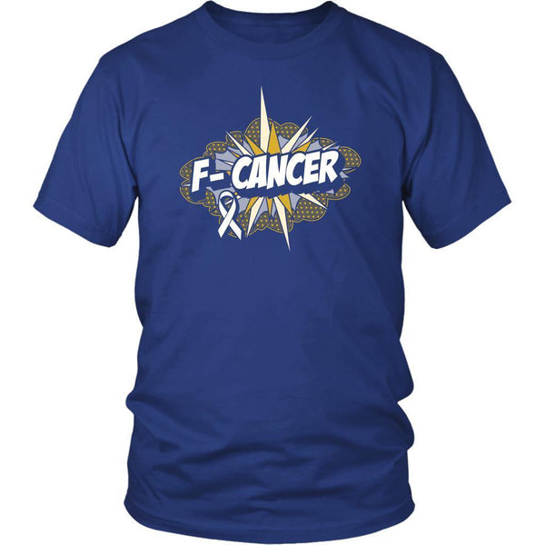 F-Cancer Lung Cancer Awareness White Ribbon Cool Gift Ideas TShirt-T-shirt-District Unisex Shirt-Royal Blue-JoyHip.Com