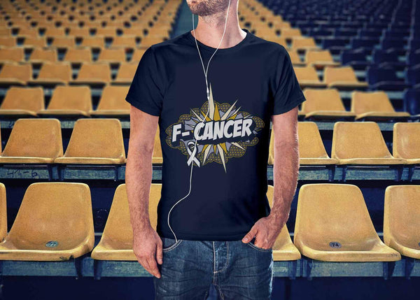 F-Cancer Lung Cancer Awareness White Ribbon Cool Gift Ideas TShirt-T-shirt-JoyHip.Com