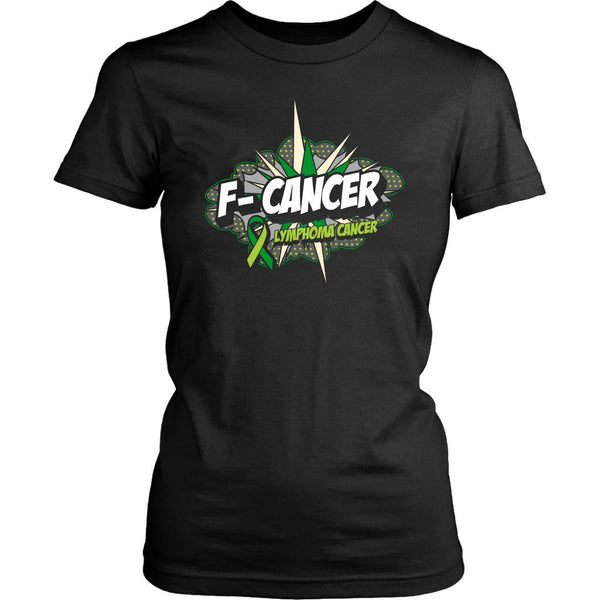F-Cancer Lymphoma Awareness Lime Green Ribbon Awesome Cool Gift Women TShirt-T-shirt-District Womens Shirt-Black-JoyHip.Com