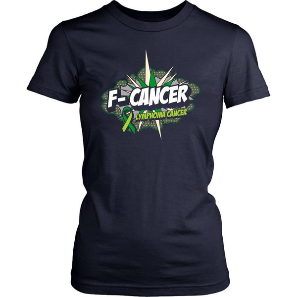 F-Cancer Lymphoma Awareness Lime Green Ribbon Awesome Cool Gift Women TShirt-T-shirt-District Womens Shirt-Navy-JoyHip.Com