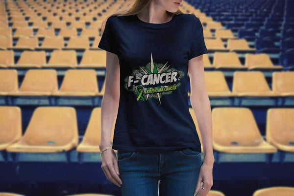 F-Cancer Lymphoma Awareness Lime Green Ribbon Awesome Cool Gift Women TShirt-T-shirt-JoyHip.Com