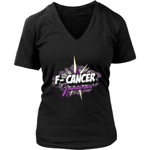 F-Cancer Pancreatic Cancer Awareness Purple Ribbon Awesome Cool Gift VNeck Shirt-T-shirt-District Womens V-Neck-Black-JoyHip.Com