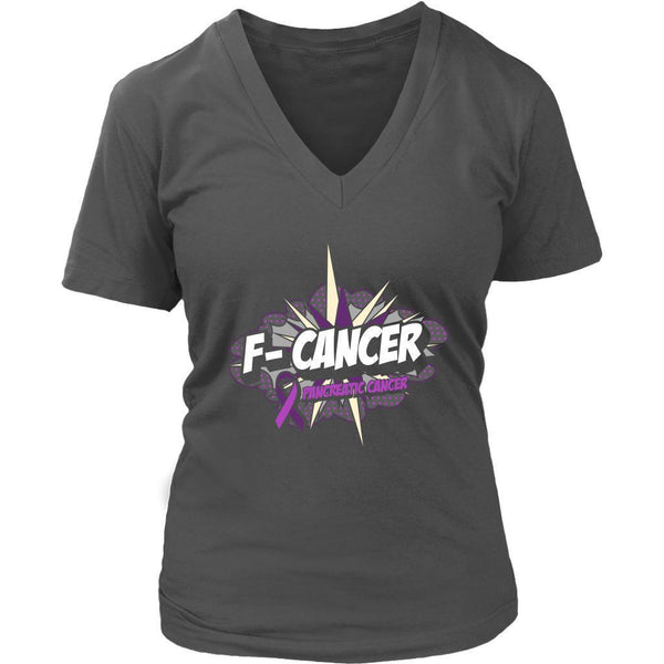 F-Cancer Pancreatic Cancer Awareness Purple Ribbon Awesome Cool Gift VNeck Shirt-T-shirt-District Womens V-Neck-Grey-JoyHip.Com