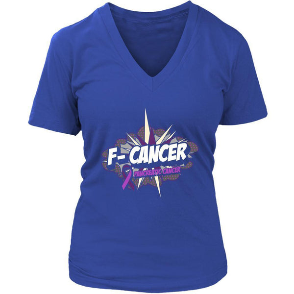 F-Cancer Pancreatic Cancer Awareness Purple Ribbon Awesome Cool Gift VNeck Shirt-T-shirt-District Womens V-Neck-Royal Blue-JoyHip.Com