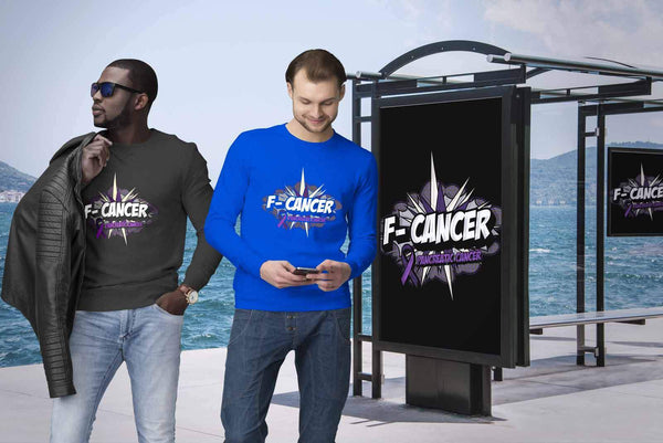 F-Cancer Pancreatic Cancer Awareness Purple Ribbon Awesome Gift Ideas Sweater-T-shirt-JoyHip.Com