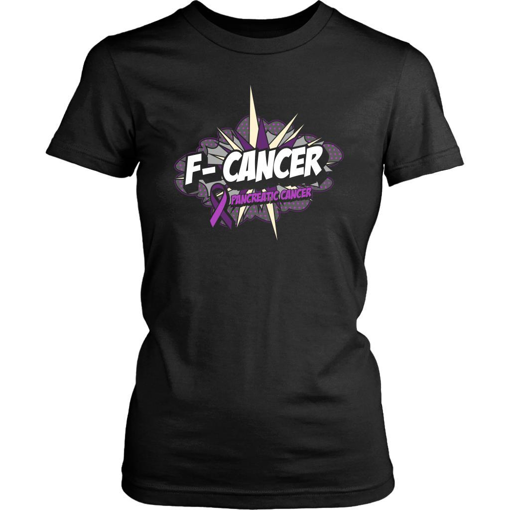F-Cancer Pancreatic Cancer Awareness Purple Ribbon Awesome Gift Women TShirt-T-shirt-District Womens Shirt-Black-JoyHip.Com