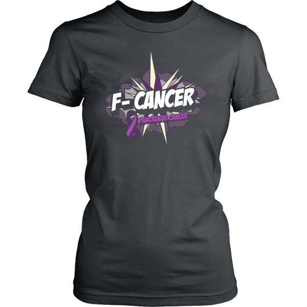 F-Cancer Pancreatic Cancer Awareness Purple Ribbon Awesome Gift Women TShirt-T-shirt-District Womens Shirt-Grey-JoyHip.Com