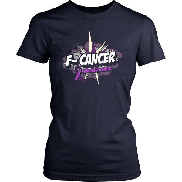 F-Cancer Pancreatic Cancer Awareness Purple Ribbon Awesome Gift Women TShirt-T-shirt-District Womens Shirt-Navy-JoyHip.Com