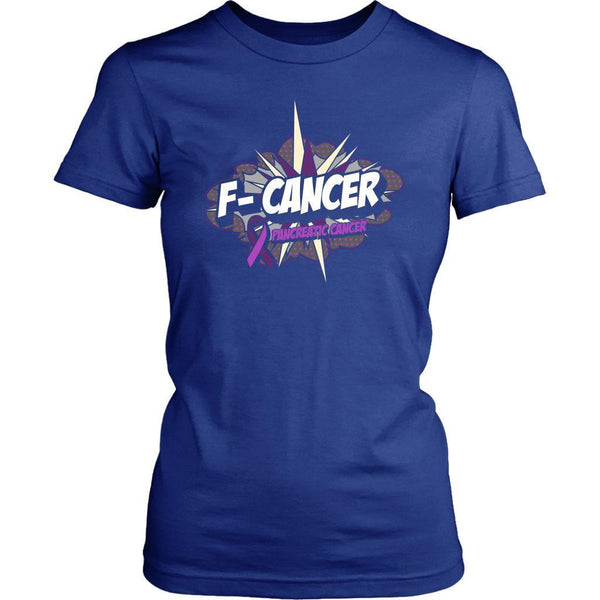 F-Cancer Pancreatic Cancer Awareness Purple Ribbon Awesome Gift Women TShirt-T-shirt-District Womens Shirt-Royal Blue-JoyHip.Com