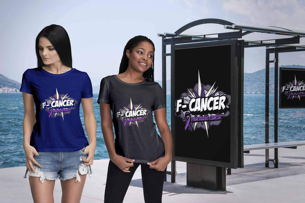 F-Cancer Pancreatic Cancer Awareness Purple Ribbon Awesome Gift Women TShirt-T-shirt-JoyHip.Com