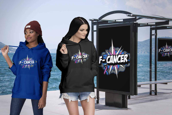 F-Cancer Thyroid Cancer Awareness Teal Pink Blue Ribbon Awesome Cool Gift Hoodie-T-shirt-JoyHip.Com