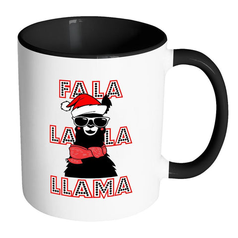Fa La La La Llama Santa Alpaca Festive Funny Ugly Christmas Holiday Sweater 11oz Accent Coffee Mug (7 Colors)-Drinkware-Accent Mug - Black-JoyHip.Com