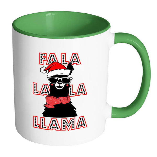 Fa La La La Llama Santa Alpaca Festive Funny Ugly Christmas Holiday Sweater 11oz Accent Coffee Mug (7 Colors)-Drinkware-Accent Mug - Green-JoyHip.Com