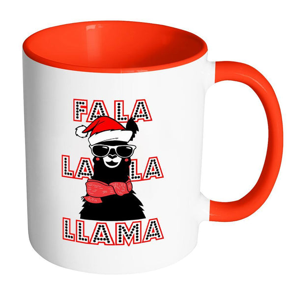 Fa La La La Llama Santa Alpaca Festive Funny Ugly Christmas Holiday Sweater 11oz Accent Coffee Mug (7 Colors)-Drinkware-Accent Mug - Red-JoyHip.Com