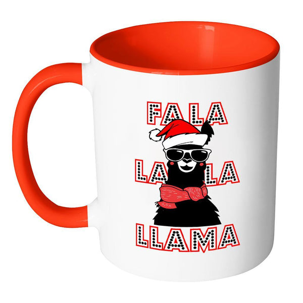 Fa La La La Llama Santa Alpaca Festive Funny Ugly Christmas Holiday Sweater 11oz Accent Coffee Mug (7 Colors)-Drinkware-JoyHip.Com