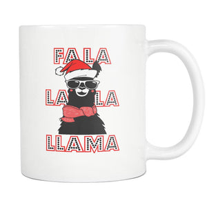 Fa La La La Llama Santa Alpaca Festive Funny Ugly Christmas Holiday Sweater White 11oz Coffee Mug-Drinkware-Ugly Christmas Sweater White 11oz Coffee Mug-JoyHip.Com