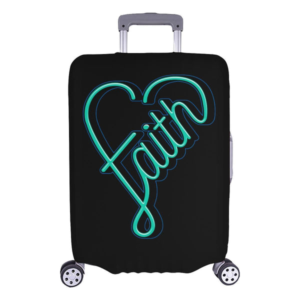 Faith Heart Christian Travel Luggage Cover Suitcase Protector Fits 18-28 Inch-L-Black-JoyHip.Com