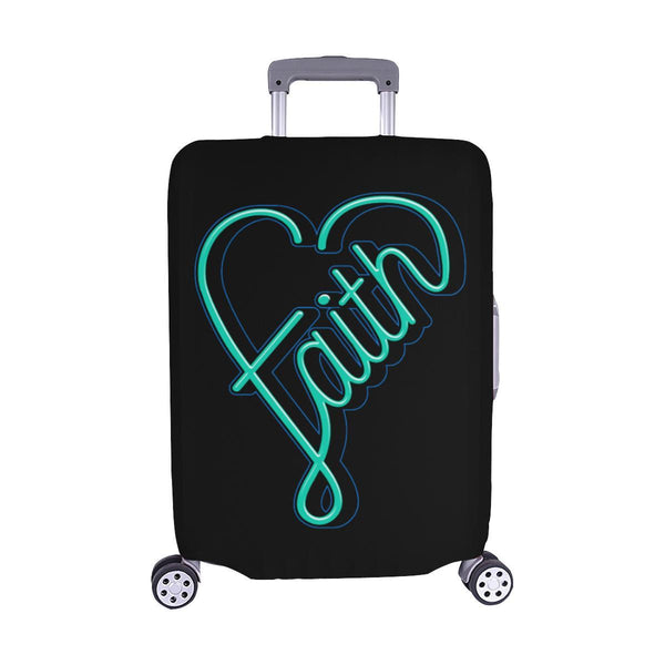 Faith Heart Christian Travel Luggage Cover Suitcase Protector Fits 18-28 Inch-M-Black-JoyHip.Com