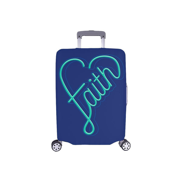 Faith Heart Christian Travel Luggage Cover Suitcase Protector Fits 18-28 Inch-S-Navy-JoyHip.Com