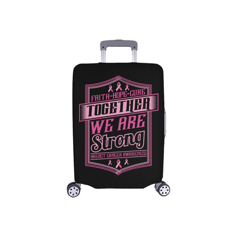 Faith Hope Cure Together We Are Strong Breast Cancer Awareness Luggage Cover-S-Black-JoyHip.Com
