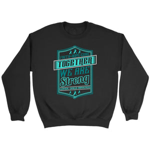 Faith Hope Cure Together We Are Strong Cervical Cancer Awareness Product Sweater-T-shirt-Crewneck Sweatshirt-Black-JoyHip.Com