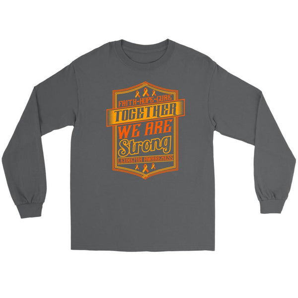 Faith Hope Cure Together We Are Strong Leukemia Awareness Long Tees-T-shirt-Gildan Long Sleeve Tee-Grey-JoyHip.Com