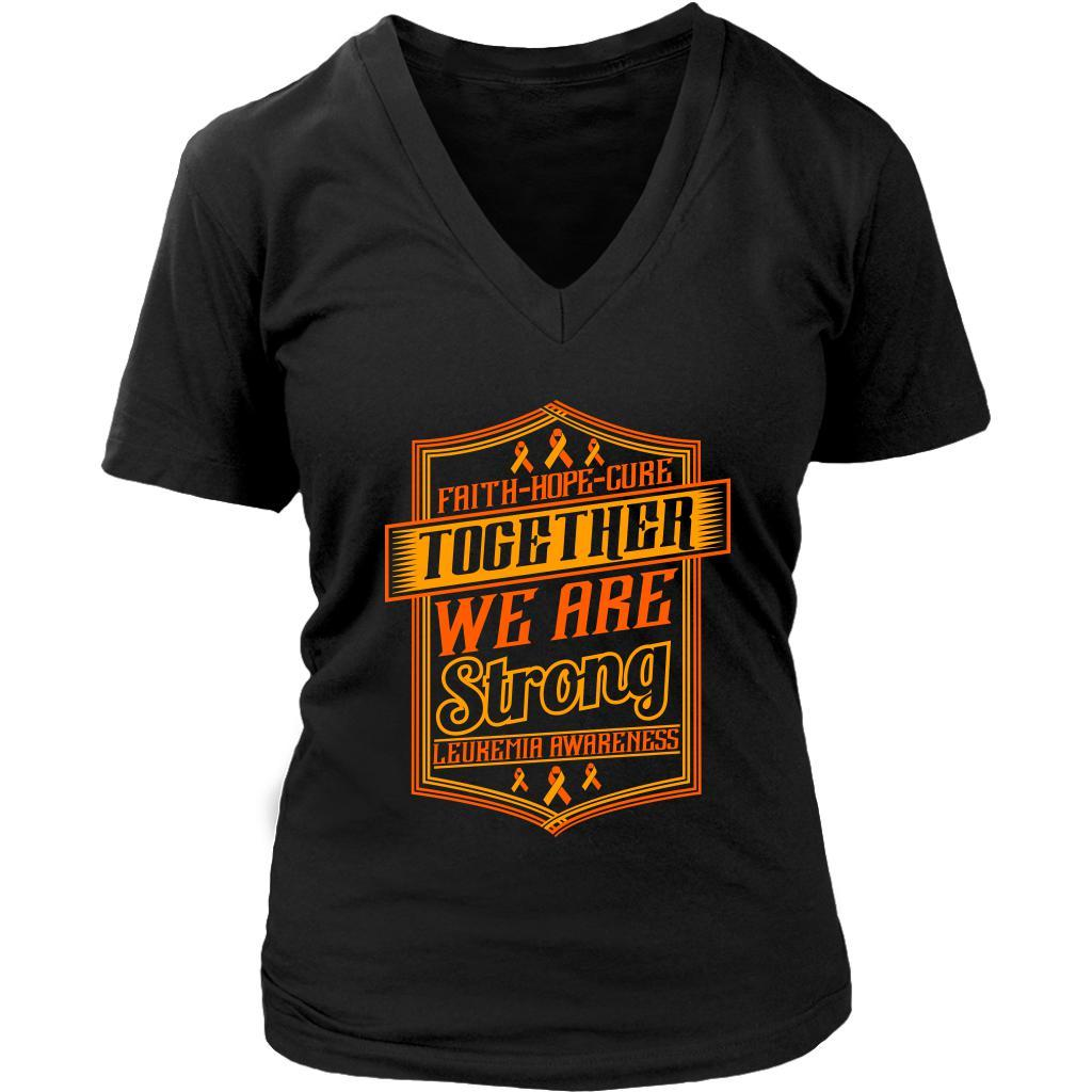 Faith Hope Cure Together We Are Strong Leukemia Awareness VNeck Tee-T-shirt-District Womens V-Neck-Black-JoyHip.Com