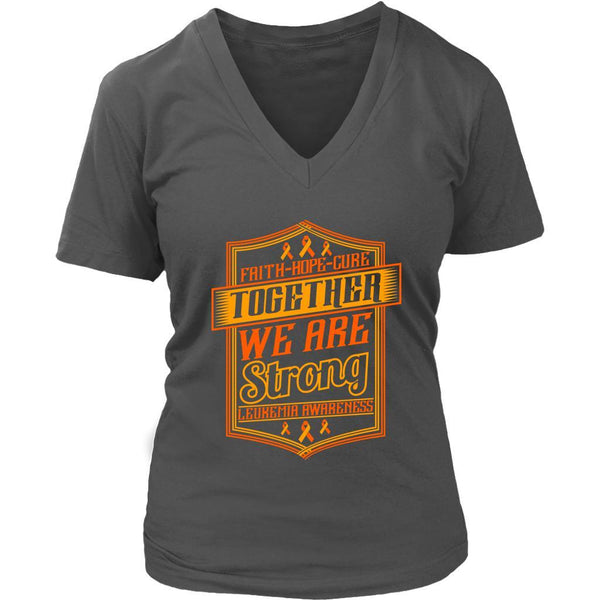 Faith Hope Cure Together We Are Strong Leukemia Awareness VNeck Tee-T-shirt-District Womens V-Neck-Grey-JoyHip.Com