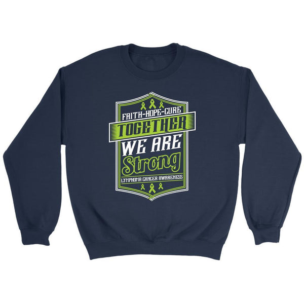 Faith Hope Cure Together We Are Strong Lymphoma Awareness Gift Sweater-T-shirt-Crewneck Sweatshirt-Navy-JoyHip.Com