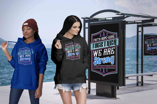 Faith Hope Cure Together We Are Strong Thyroid Cancer Awareness Gift Hoodie-T-shirt-JoyHip.Com