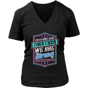 Faith Hope Cure Together We Are Strong Thyroid Cancer Awareness Women TShirt-T-shirt-District Womens V-Neck-Black-JoyHip.Com