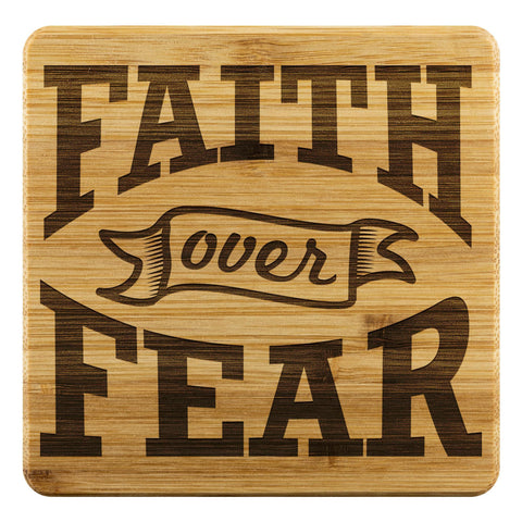 Faith Over Fear Cute Funny Drink Coasters Set Christian Gifts Ideas Religious-Coasters-Bamboo Coaster - 4pc-JoyHip.Com