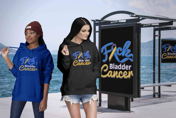 F*ck Bladder Cancer Awareness Yellow Blue Purple Ribbon Awesome Gift Idea TShirt-T-shirt-JoyHip.Com