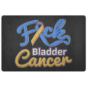 F*ck Bladder Cancer Blue Yellow Purple Ribbon 18X26 Indoor Door Mat Outdoor Room-Doormat-Black-JoyHip.Com