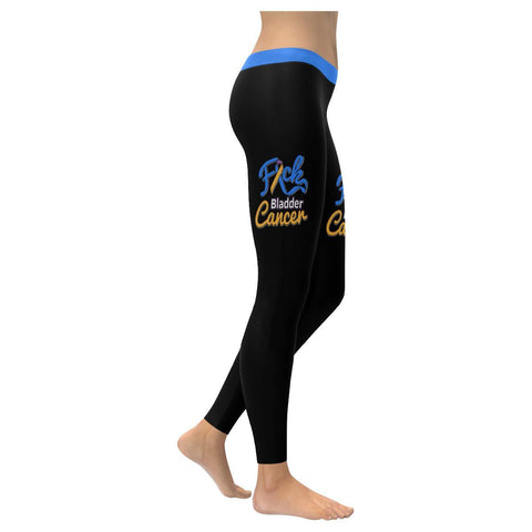 F*ck Bladder Cancer Blue Yellow Purple Ribbon Awareness Soft Leggings For Women-XXS-Black-JoyHip.Com