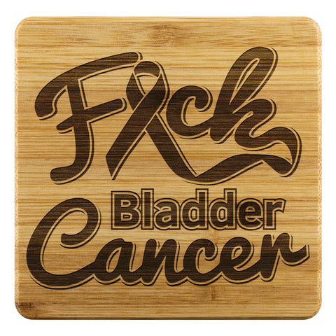 F*ck Bladder Cancer Blue Yellow Purple Ribbon Drink Coasters Set Gifts Idea-Coasters-Bamboo Coaster - 4pc-JoyHip.Com