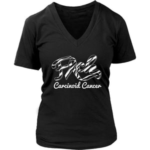 F*ck Carcinoid Cancer Awareness Zebra Stripe Ribbon Awesome Gift VNeck TShirt-T-shirt-District Womens V-Neck-Black-JoyHip.Com