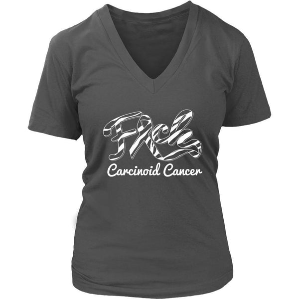 F*ck Carcinoid Cancer Awareness Zebra Stripe Ribbon Awesome Gift VNeck TShirt-T-shirt-District Womens V-Neck-Grey-JoyHip.Com