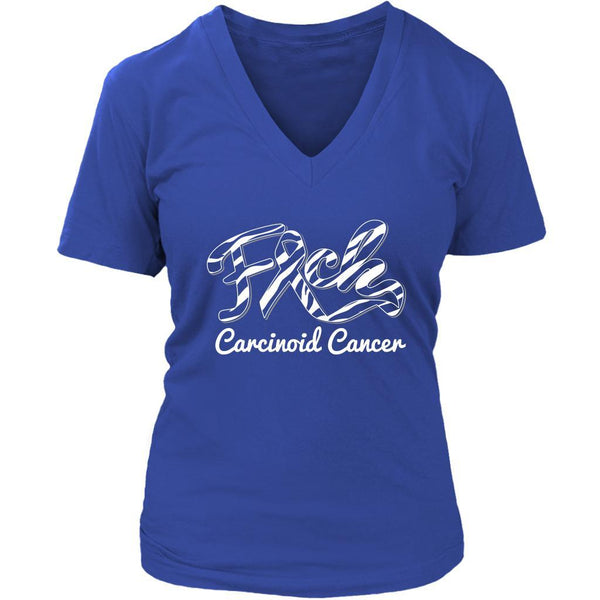 F*ck Carcinoid Cancer Awareness Zebra Stripe Ribbon Awesome Gift VNeck TShirt-T-shirt-District Womens V-Neck-Royal Blue-JoyHip.Com