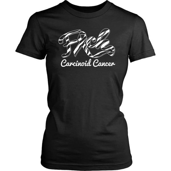 F*ck Carcinoid Cancer Awareness Zebra Stripe Ribbon Awesome Gift Women TShirt-T-shirt-District Womens Shirt-Black-JoyHip.Com