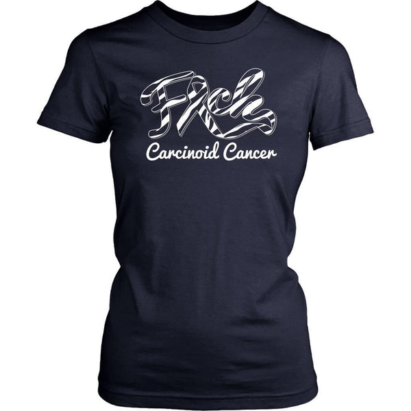 F*ck Carcinoid Cancer Awareness Zebra Stripe Ribbon Awesome Gift Women TShirt-T-shirt-District Womens Shirt-Navy-JoyHip.Com