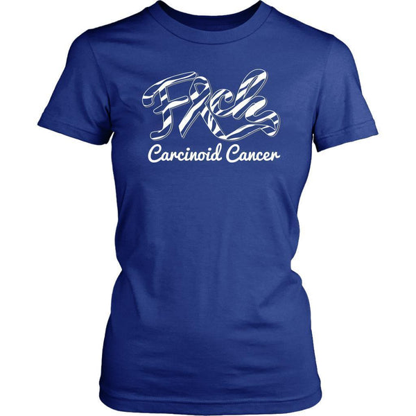F*ck Carcinoid Cancer Awareness Zebra Stripe Ribbon Awesome Gift Women TShirt-T-shirt-District Womens Shirt-Royal Blue-JoyHip.Com