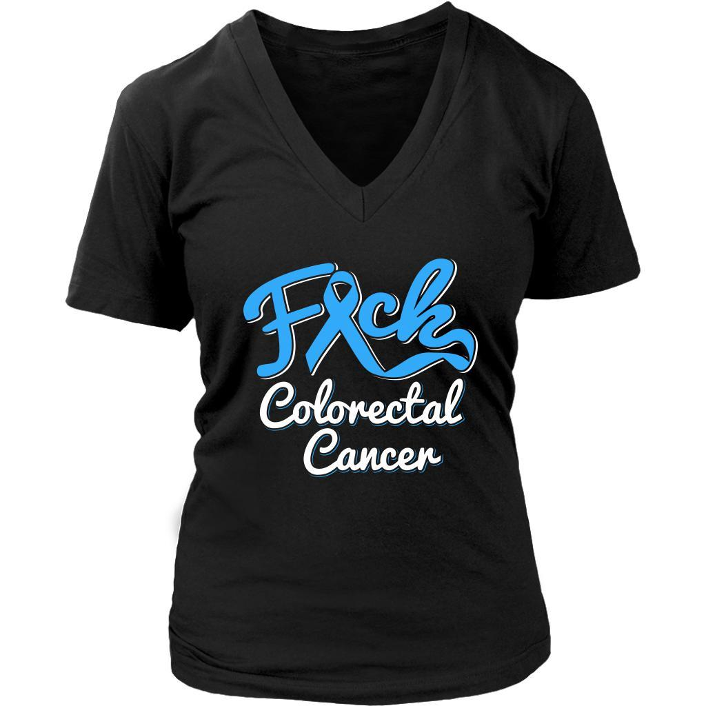 F*ck Colorectal Cancer Awareness Blue Ribbon Awesome Gift VNeck TShirt-T-shirt-District Womens V-Neck-Black-JoyHip.Com