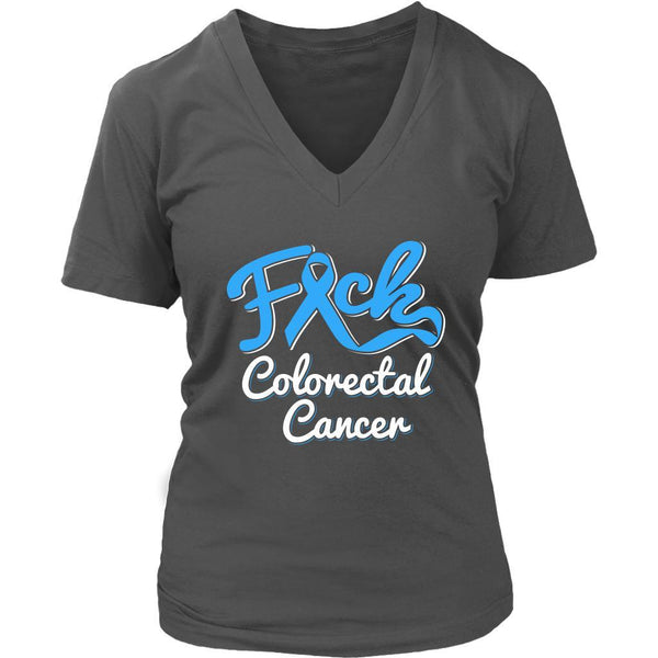 F*ck Colorectal Cancer Awareness Blue Ribbon Awesome Gift VNeck TShirt-T-shirt-District Womens V-Neck-Grey-JoyHip.Com