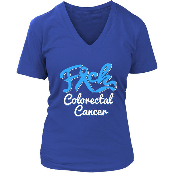 F*ck Colorectal Cancer Awareness Blue Ribbon Awesome Gift VNeck TShirt-T-shirt-District Womens V-Neck-Royal Blue-JoyHip.Com