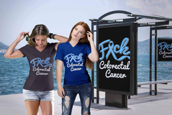 F*ck Colorectal Cancer Awareness Blue Ribbon Awesome Gift VNeck TShirt-T-shirt-JoyHip.Com