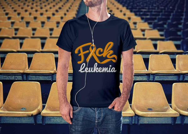 F*ck Leukemia Awareness Orange Ribbon Awesome Cool Men Unisex TShirt-T-shirt-JoyHip.Com