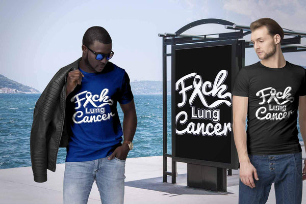 F*ck Lung Cancer Awareness White Ribbon Awesome Gift Ideas TShirt-T-shirt-JoyHip.Com